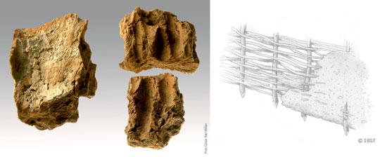 A la izquierda, fragmentos de revestimiento de barro empleados en el clayonnage o torchis. A la derecha, recreación de esta técnica constructiva