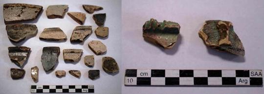 Cerámicas encontradas en el asentamiento del Fuerte Sancti Spiritus